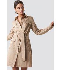 na-kd trend pocket detail shirt dress - beige
