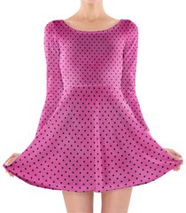 hot pink polka dots longsleeve skater dress