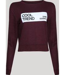 """blusão de moletom felpado feminino cropped """"cool trend"""" vinho"""