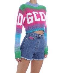 gcds multicolor logo crop sweater