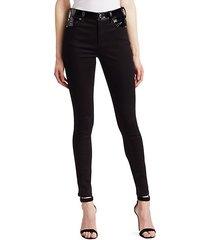patent waist skinny jeans