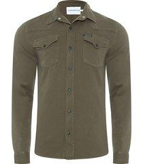 camisa masculina jeans manga longa - verde