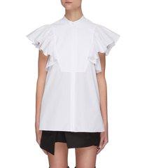 ruffle sleeve cotton shirt
