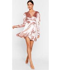 womens how did that satin ruffle mini dress - pale pink