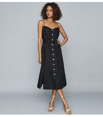 reiss catalina - linen button-up midi dress in black, womens, size 12