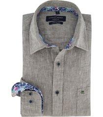 overhemd casa moda grijs gemeleerd linnen