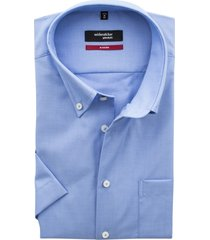 seidensticker korte mouw overhemd blauw non iron