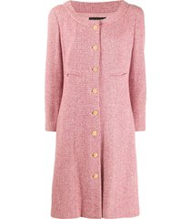 chanel pre-owned 2001 collarless flared midi coat - pink
