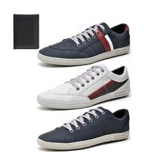 kit 3 sapatênis casual yes basic com carteira azul/branco