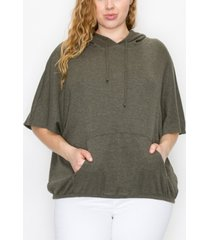 coin 1804 plus size batwing pocket hoodie