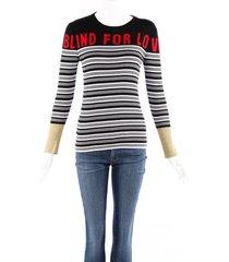 gucci blind for love multicolor striped knit sweater black/multicolor sz: s