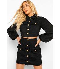 korte corduroy jas met volle mouwen en rok set, black