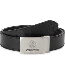 roberto cavalli men's logo plaque pebbled leather belt - black - size 32