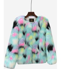 cappotti a maniche lunghe con collo aperto davanti in pelliccia sintetica multicolore