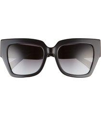 valentino 54mm square sunglasses in black/gradient black at nordstrom