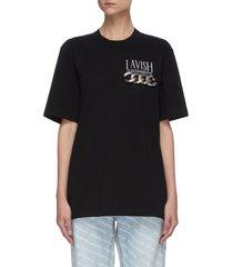 'lavish' logo print chain embellished t-shirt