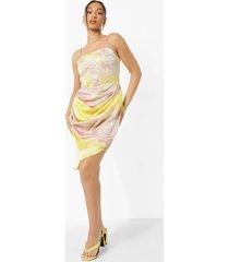 marmerprint midi jurk met korset detail, yellow