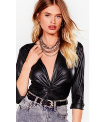 womens faux leather tell a soul plunging twist bodysuit - black