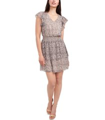 msk petite v-neck smocked-waist chiffon dress