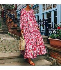 zanzea plus s-5xl vestido largo largo con cuello redondo para mujer kaftan tops vestido estampado floral -rojo