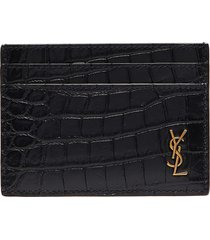 logo plate croc-embossed leather card holder