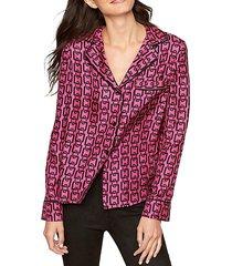 pajama button-up top