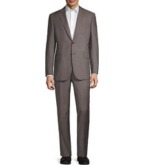 classic-fit mini check wool suit