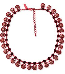 """inc crystal & glitter ball color-coated collar necklace, 18"""" + 3"""" extender, created for macy's"""