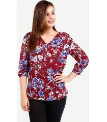 blusa en plano, manga 3/4 y botones en escote vino 6