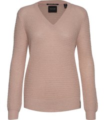 v-neck pull with lurex gebreide trui roze scotch & soda
