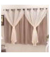 cortina blackout pvc c/ voil avelã corta luz 2,80m x 2,30m