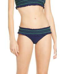 women's tory burch costa smocked hipster bikini bottoms, size large - orange