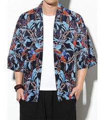 chaqueta de punto con estampado de plantas japonesas de protección solar para hombre