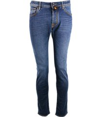 jacob cohen special edition jeans trousers in natural indigo 5-pocket stretch denim with buttons and stitching in contrasting color, pony skin salpa w