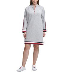 tommy hilfiger plus size funnel-neck striped-trim dress