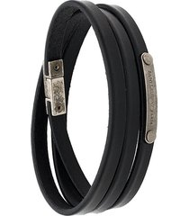saint laurent id narrow wraparound bracelet - black