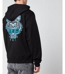 kenzo men's classic tiger full zip hoodie - black - xl