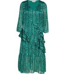 u6014, dress calf woven maxi dress galajurk groen saint tropez