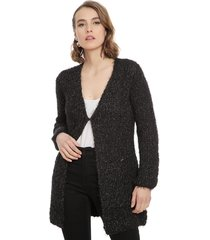 cardigan io tejido largo negro - calce regular