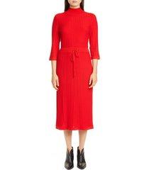 women's a.p.c. vivianne rib drawstring waist merino wool midi dress, size x-small - red