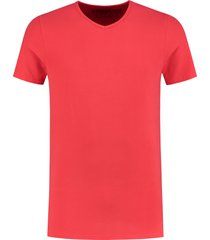 shirtsofcotton heren t-shirt rood basic v-hals