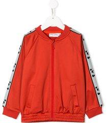 mini rodini panda-stripe bomber jacket - red