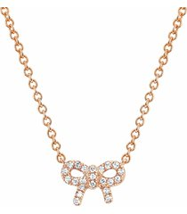 diamond mini bow necklace