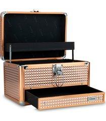 maleta de maquiagem média cisne alumínio reforçada dourada