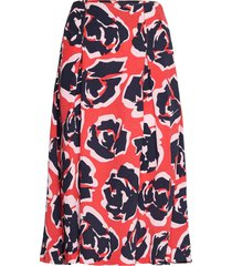 skirt printed knälång kjol röd park lane