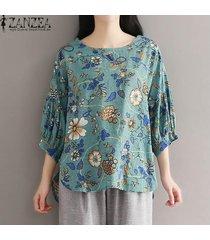 zanzea plus size pullover floral tops mujer o cuello 3/4 manga blusas asimétricas -verde