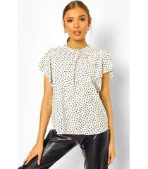 geweven blouse met mouw franjes en stippen, wit