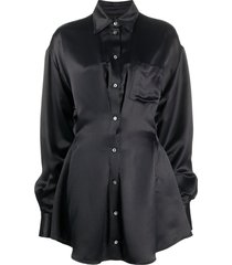 unravel project flared shirt dress - black