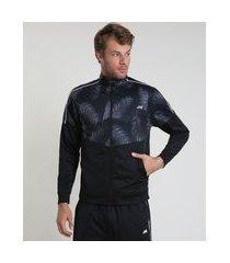 jaqueta masculina esportiva ace com recorte estampado de folhagem gola alta preta 1