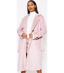 brushed wool look belted coat, blush